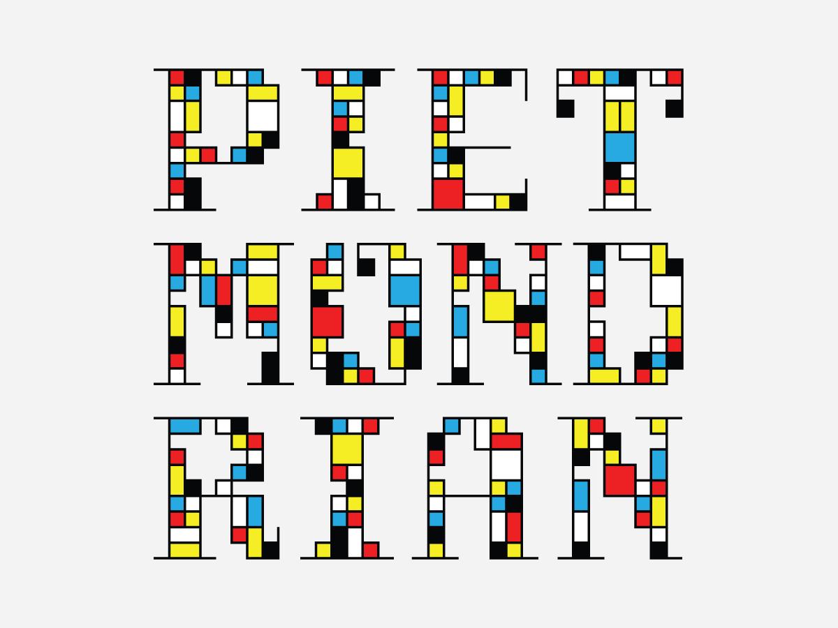 Piet Mondrian typographic poster design